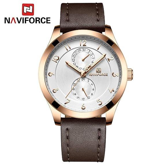 HWCOO Relojes NAVIFORCE NF3004 Reloj de Cuarzo de los Hombres Reloj de Correa de Movimiento japonés (Color : 3): Amazon.es: Relojes