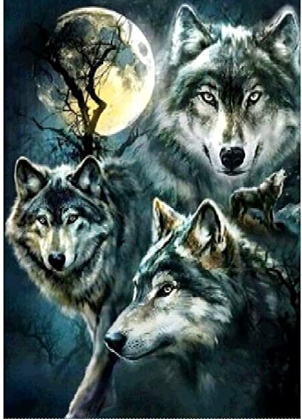 5D DIY Diamond Painting Wolf Animal Cross Stitch Embroidery Rhinestones Kit
