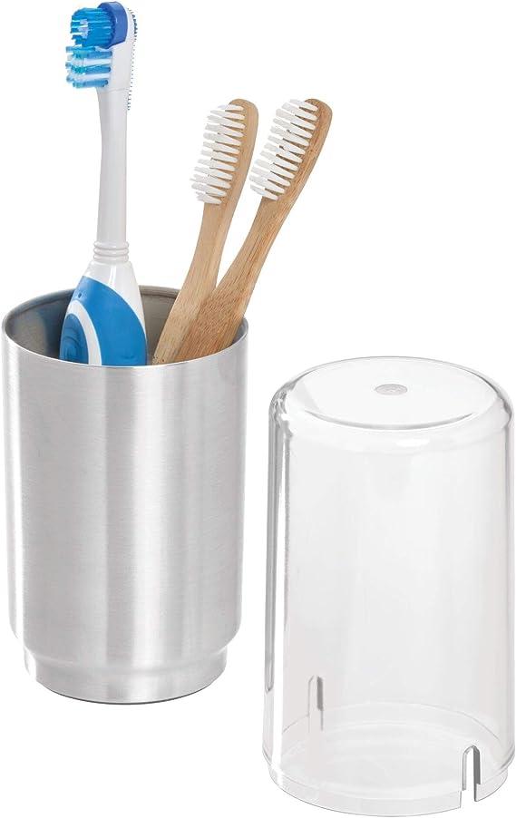 Bote Redondo con Tapa de Metal para Almacenamiento de cosm/éticos iDesign Austin Organizador de ba/ño para Maquillaje 8,9 cm de di/ámetro x 14,6 cm Negro Mate
