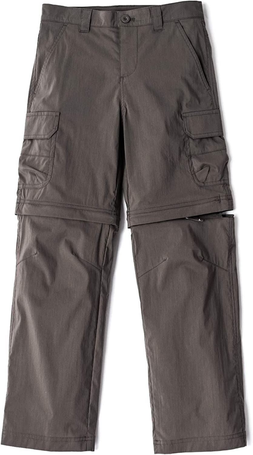 CQR Kids Youth Hiking Cargo Pants, UPF 50+ Quick Dry Convertible Zip Off/Regular Pants, Outdoor Camping Pants