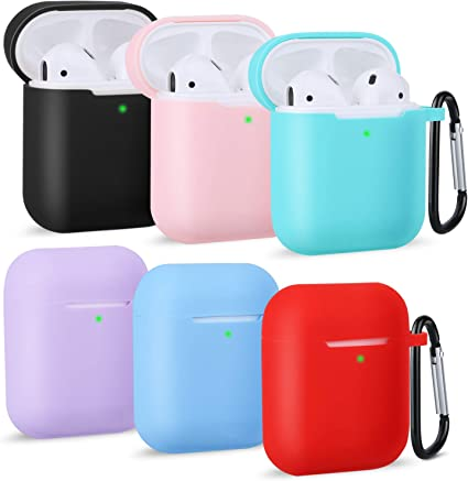 6 Pack Front LED Visible FFLY Compatible for AirPods Case with Keychain Shockproof Protective Premium Silicone Cover Skin for AirPods Charging Case 2 /& 1