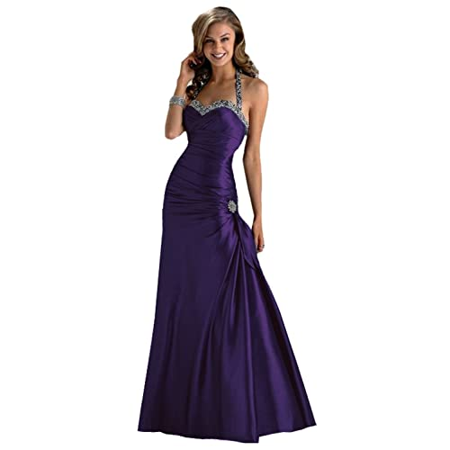 Gorgeous Halter-neck Evening Dress Ball Gown in Purple, Black, Red, Dark