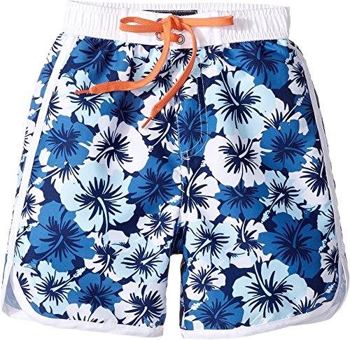 4b3c8da443 Toobydoo Baby Boy's Hawaiian Blue Boardshorts (Infant/Toddler/Little Kids/Big  Kids) Hawaiian Flower/Aqua/Navy/White/Orange Tie Swimsuit Bottoms