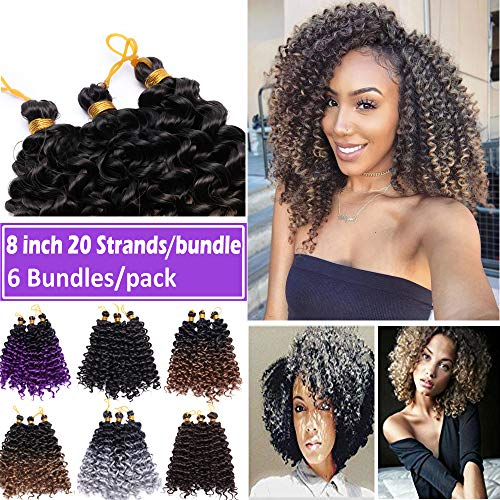 8 Inch Marlybob Crochet Hair Braids Afro Jerry Curl Synthetic Hair Bundles Extensions Ombre Water Wave Twist Hair Weave for Afrcian American Women 6 Bundles/Pack Black to Light Auburn ()