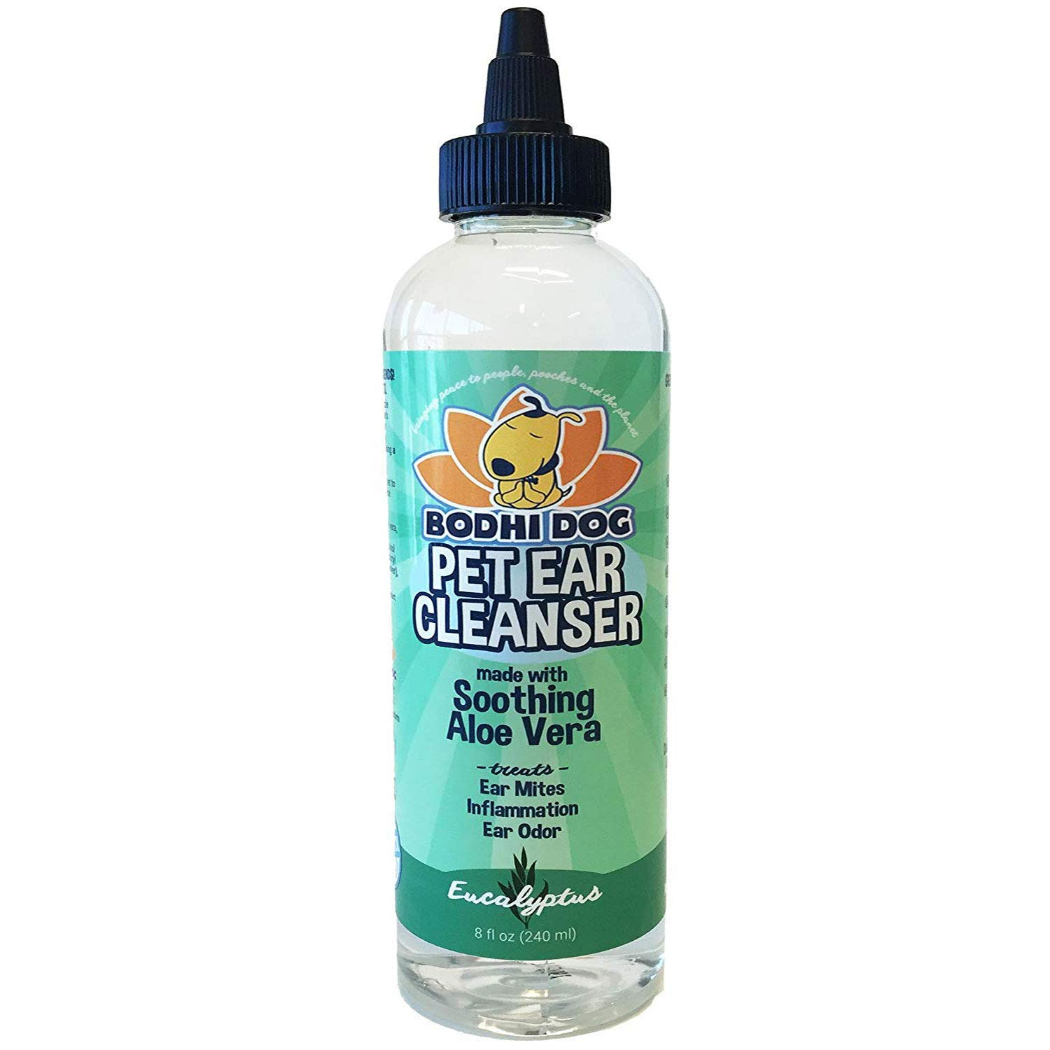 New All Natural Pet Ear Cleaner for Dogs and Cats   Eucalyptus & Aloe Vera Cleaning Treatment for Ear Mites Yeast Infection Fungus & Odor   Gentle Solution Cleanser for Ears - 1 Bottle 8oz (240ml)