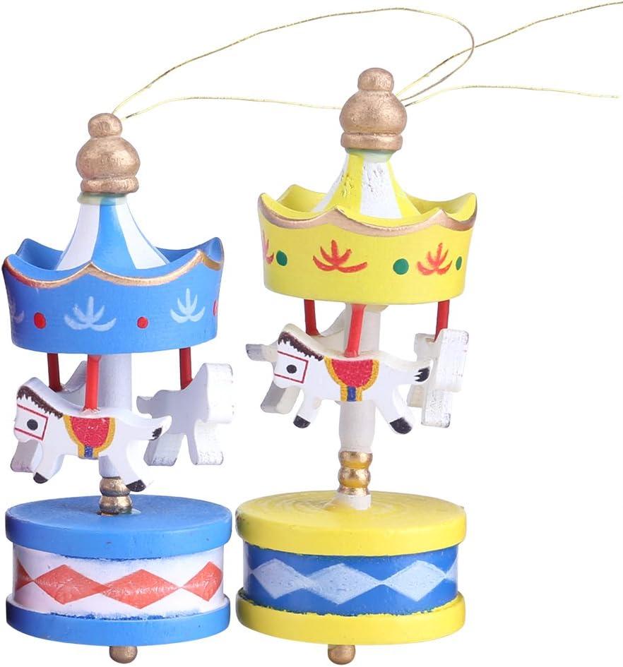 FTVOGUE 6 St/ück//Box Frohe Weihnachts-Holz-Karussell H/ölzernes Karussell-Pferdeverzierungs-Merry-Go-Round Weihnachtsraum-Dekoration Scherzt Geschenk