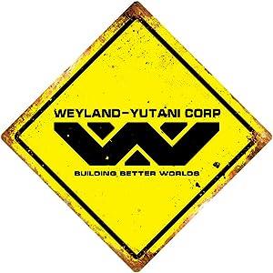 PotteLove Weyland Yutani Diamond Metal Wall Sign Plaque Art Alien Sci Fi Xenomorph Decor Novelty Art Sign Funny Aluminum Metal Tin Signs