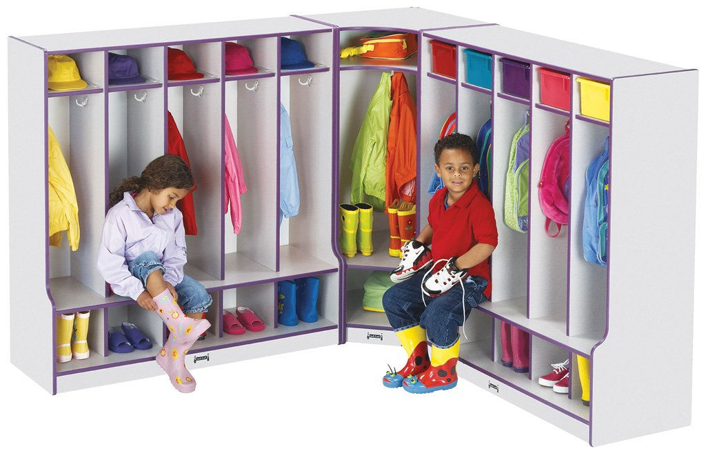 Rainbow Accents 6686JCWW007 Corner Coat Locker with Step, Yellow