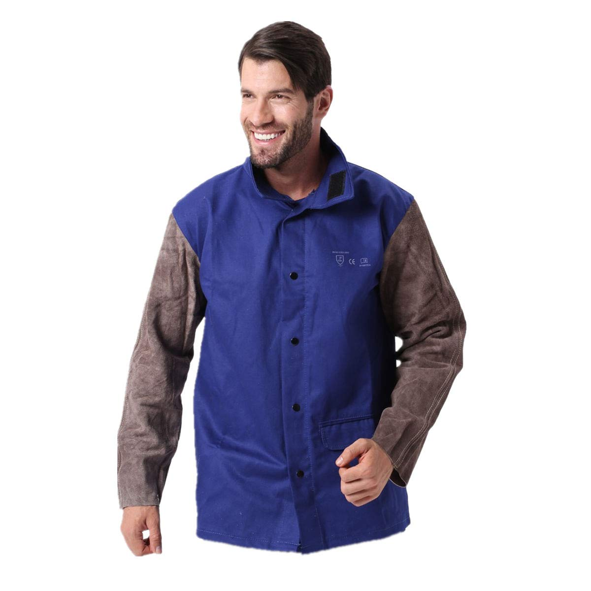 Working Protection Flame Heat Abrasion Resistant Cowhide Leather Flame Retardant Cotton Long Sleeve Clothes Welding Jacket (XXL)