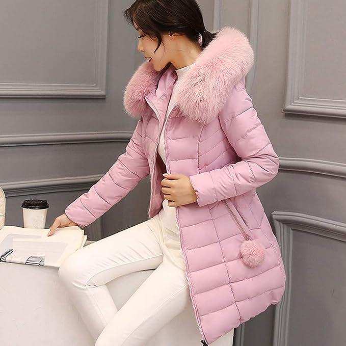 Amazon.com: AOJIAN Women Jacket Long Sleeve Outwear Hairball Zipper Quilted Slim Plush Hooded Coat Pink: Clothing
