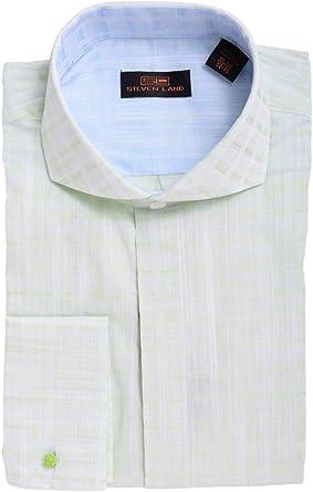 Steven Land - Camisa de Vestir de algodón con puño francés ...