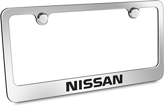 Stainless Steel Fit Nissan Chrome License Plate Frame with Cap