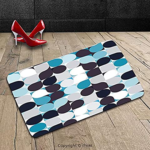 Custom Machine-washable Door Mat Abstract Retro Inner Circles Pattern with Squares Mosaic Style Old Fashion Print Brown Grey Teal White Indoor/Outdoor Doormat Mat Rug - Mosaic Outdoor Rug