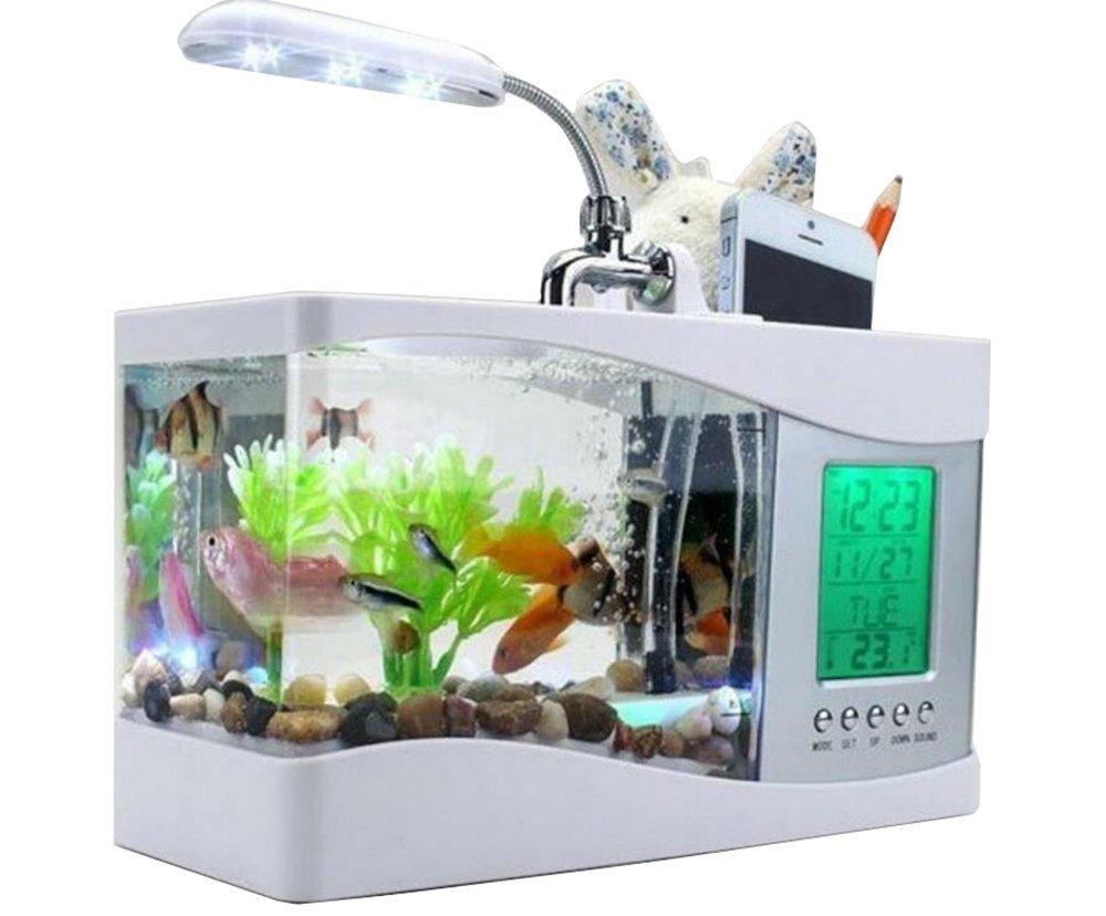 Anself Mini USB LCD Desktop Lamp Light Fish Tank Aquarium LED Clock ...