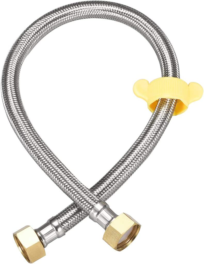 uxcell Faucet Supply Line Connector 1//2 Inch IPS Female x 1//2 Inch IPS Female 20 Inch Length Braided 304 Stainless Steel Hose Brass Nut 2Pcs