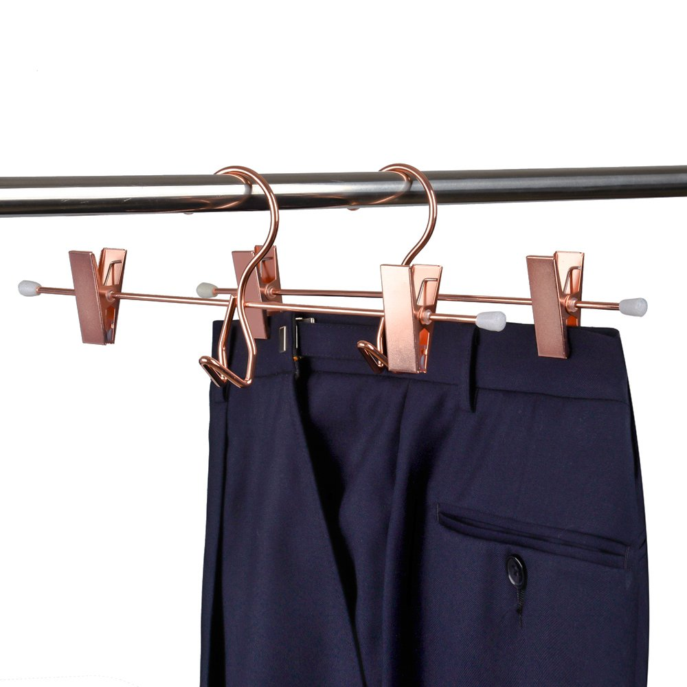 Amber Home Add-On Shiny Copper Metal Clothes Pant Skirt Slack Hangers Clothing Hangers with 2-Adjustable Clips 5-Pack