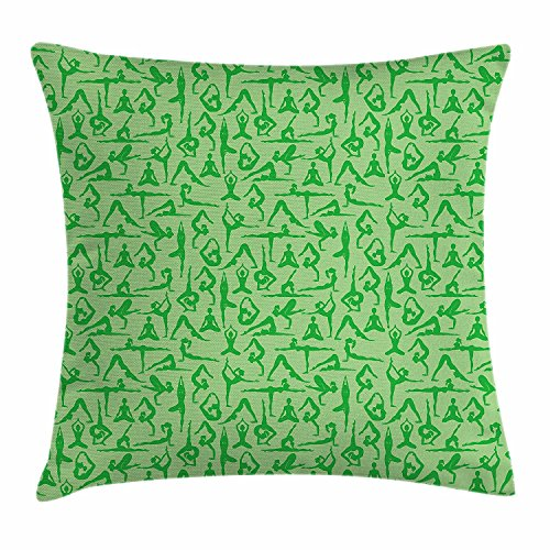 Yoga Throw Pillow Cushion Cover, Women Silhouettes Meditation Poses Pattern Fitness Healthy Lifestyle Hobbies Relaxing, Decorative Square Accent Pillow Case, 18 X 18 Inches, Lime Green