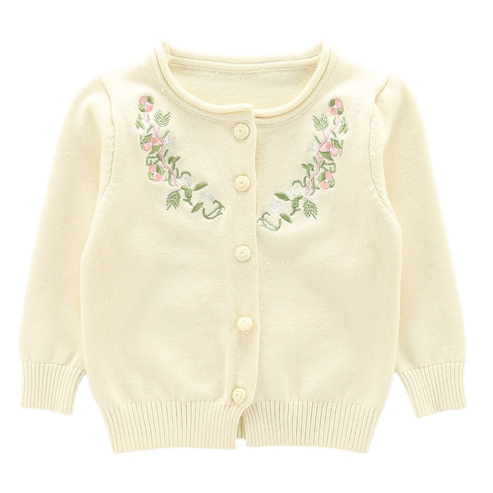 Moonnut Girls Cardigan Sweaters Floral Embroidered Long Sleeve Knitted Outwear (4T, White)