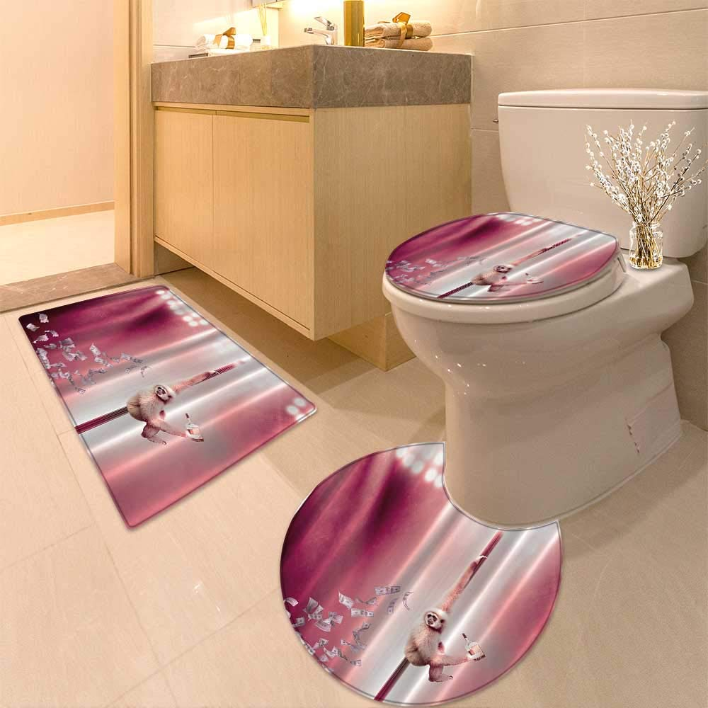 HuaWuhome 3 Piece Shower Mat Set P y for Adults Funny Animal by Monkey Dancing on The StripperPole Dollars Striptease with Customized