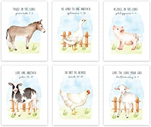 Andaz Press Farm Animals Theme Nursery Kids Bedroom Hanging Wall Art Decor, 8.5x11-inch, Watercolor Sky, Bible Christian Verses, Cow Duck Chicken Pig Lamb Sheep, 6-Pack, Unframed Room Poster