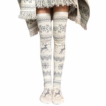 Medias para mujer Microfibra Medias Pantimedias mujer Sannysis Navidad Calcetines sobre la rodilla Xmas de Tejer Medias Calcetines hasta la rodilla Medias ...