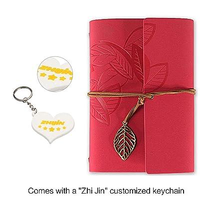 Zhi Jin - Cuaderno de anillas, tamaño A5, tapa dura de piel, diario de bolsillo, rellenable, diseño de hojas, vintage, suelto, color rosso