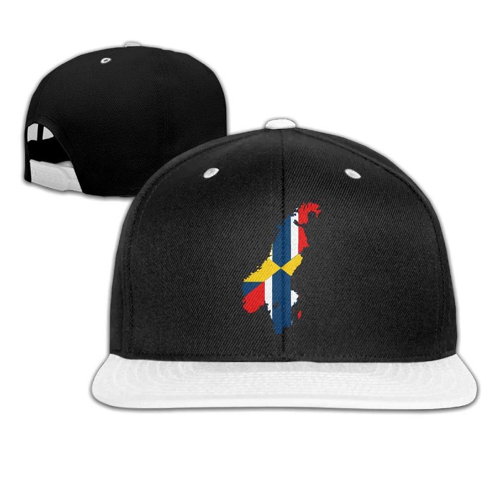 Tailing Sweden Norway Flag Map Unisex Hip-hop Hats Snapback Hat Solid Flat Cap