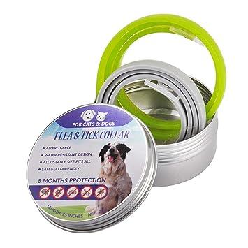 KOBWA 2 Paquete Collar Antipulgas para Perros y Gatos, Collares Antiparasitario Para, 8 Meses