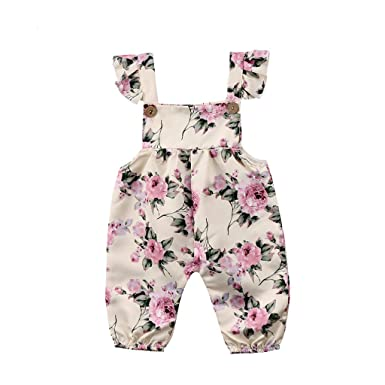 0b57d63588e Sharemen Infant Baby Girls Sleeveless Floral Print Jumpsuit Romper Outfits  Clothes(White