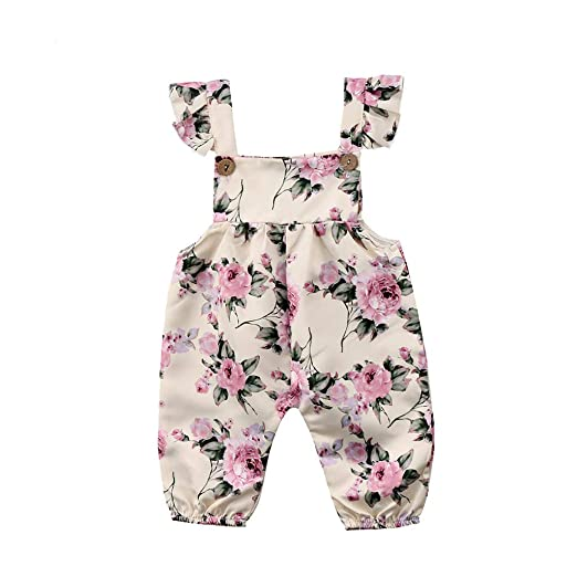 bea0221212b9 Amazon.com  2Pcs 2019 New Summer Infant Baby Girls Sleeveless Floral Print  Jumpsuit G-Real Romper Outfits  Clothing