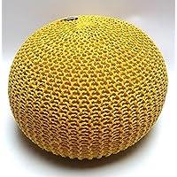 Millhouse Maglia di cotone Riempito Pouf poggiapiedi Bean per soggiorno o camera da letto (60 cm, colore giallo)