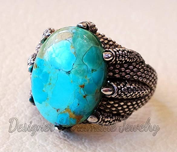 40ac95b8a NATURAL TURQUOISE HIGHEST QUALITY HUGE MEN EAGLE CLAY RING STERLING SILVER  925 BLUE COLOR STONE ALL SIZES JEWELRY DESIGNER HANDMADE RING STATEMENT  JEWELRY