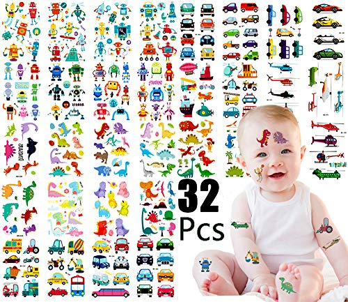 Temporary Tattoos for Kids-Dinosaur Temporary Tattoos for Boys Birthday Party |Child 252 Patterns Tattoo Stickers/Body Art Cartoon Tatoo Gifts for Girls Arm Body Decor -3 Styles / 32 -