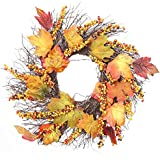 HighlifeS Christmas Wreath, Artificial Berry Yellow Leaf Fall Door Wreath Garland Fall Harvest Wreath Handcrafted Front Door Wreath Display Wedding Farmhouse Decor Christmas Thanksgiving Wreath Decor