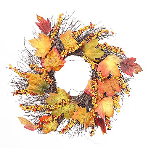 JPJ(TM) ❤Wreath Ornament ❤1pcs Thanksgiving Day Hot Fashion 50cm Berry Maple Leaf Fall Door Wreath Door Wall Ornament (Yellow) by JPJ(TM) _Christmas products