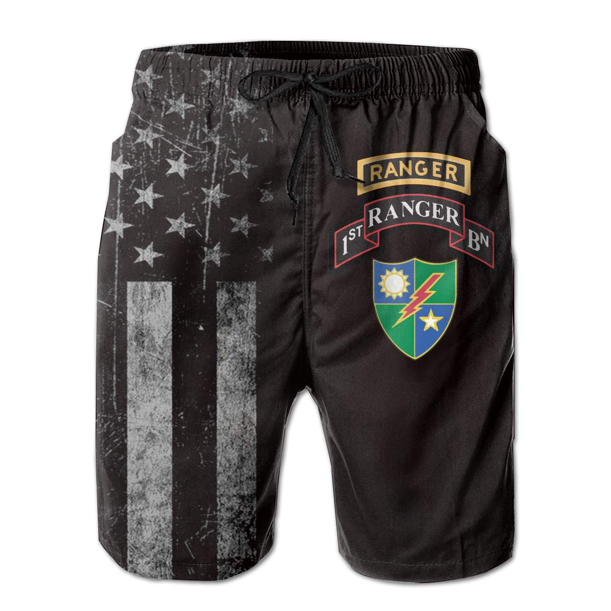 HANINPZ 1st Battalion 75th Ranger Regiment Mens Swim Trunks Beach Short Board Shorts