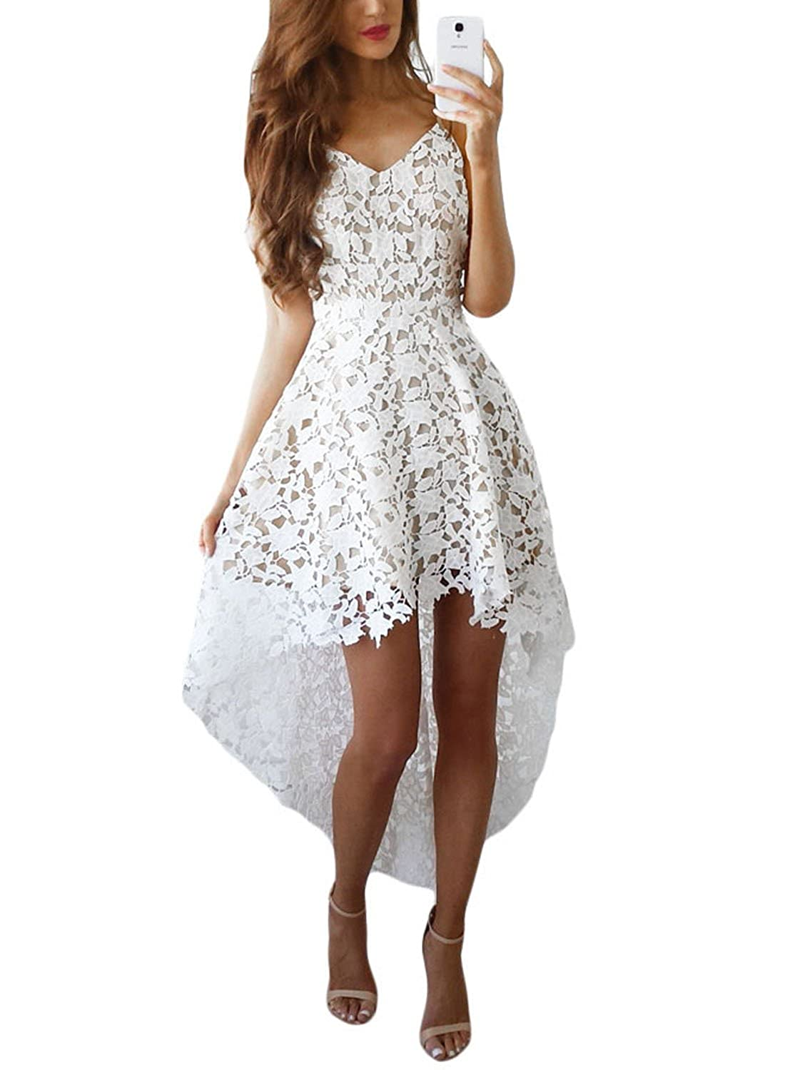 a6a3f2579f AlvaQ Women s V Neck Sleeveless Lace Hollow High Low Party Dress at Amazon  Women s Clothing store
