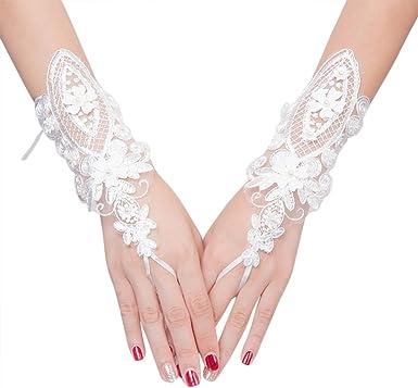 Women Ladys Bride Wedding Long Elegant Lace Evening Gloves