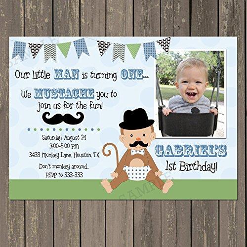 Monkey Birthday Invitation, Little Man 1st Birthday Invitation,