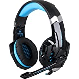 PS4 Headphones - iRush G9000 Game Headsets for PC Computer PlayStation 4 Xbox One with Microphone, Ergonomic Designed with Soft Earmuffs, Wired LED USB Earphones Over the Ear Headsets (Black / Blue)