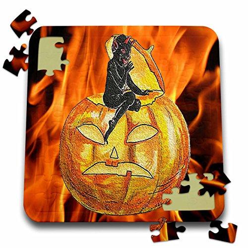 3dRose Sandy Mertens Vintage Halloween Designs - Devil on Jack o Lantern with Modern Flames Background - 10x10 Inch Puzzle (pzl_53710_2)
