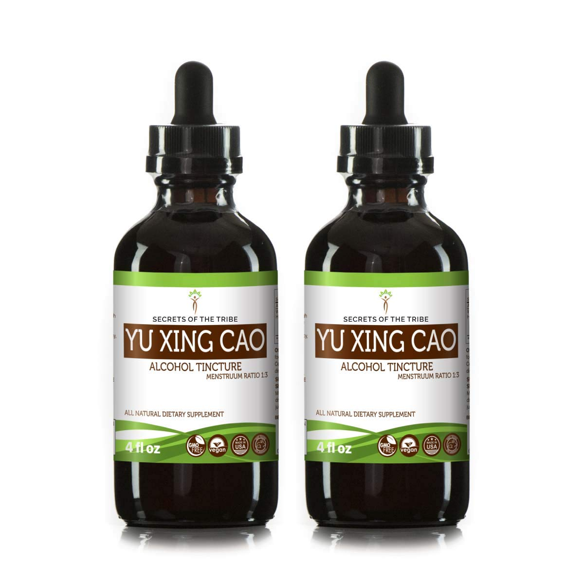 Yu Xing Cao Tincture Alcohol Extract, Wildcrafted Yu Xing Cao (Plu Kaow, Houttuynia Cordata) Dried Herb (2x4 FL OZ)