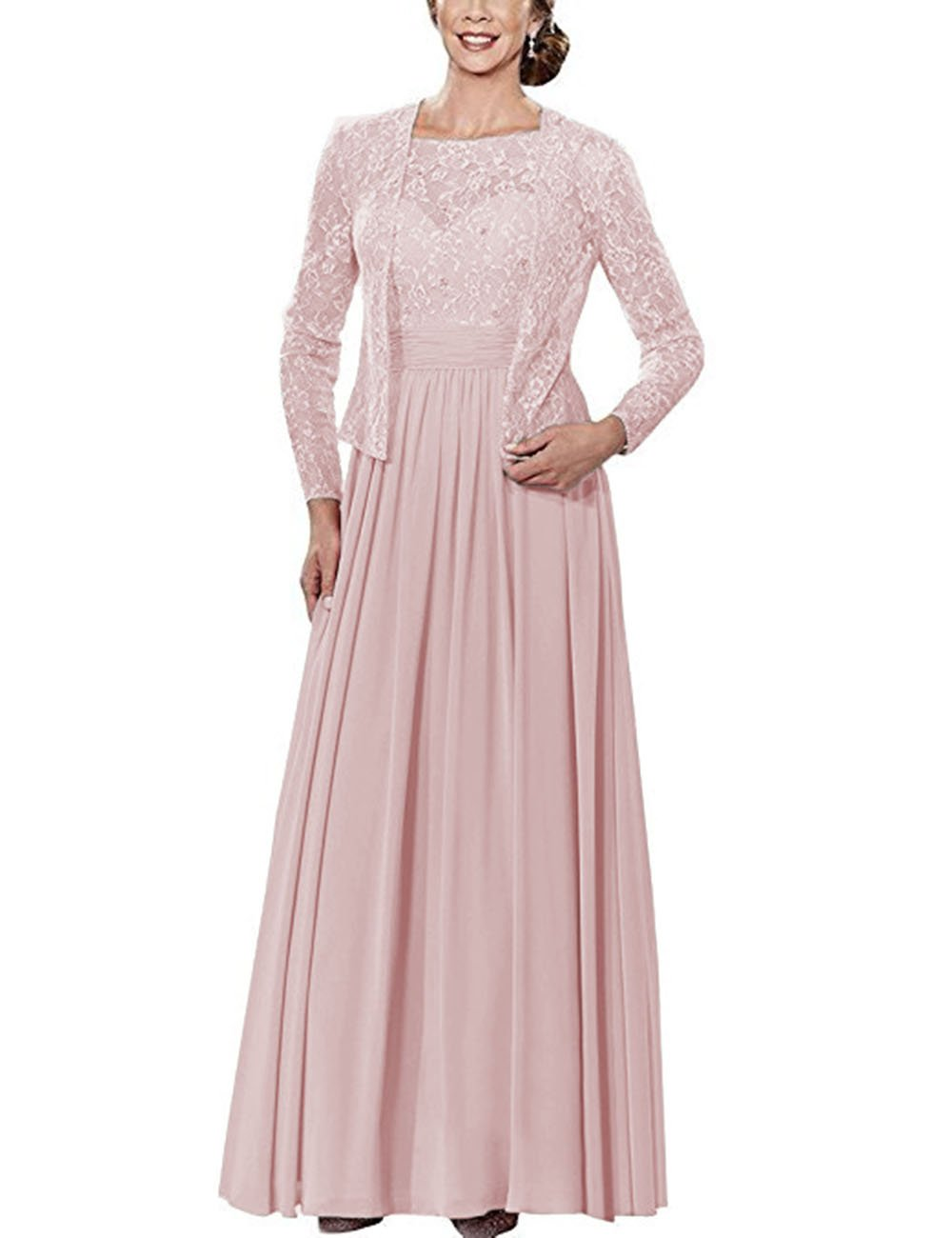 5dd4010bcf WHZZ Womens Lace Mother of Bride Dresses Full Length with Long Sleeve Jacket