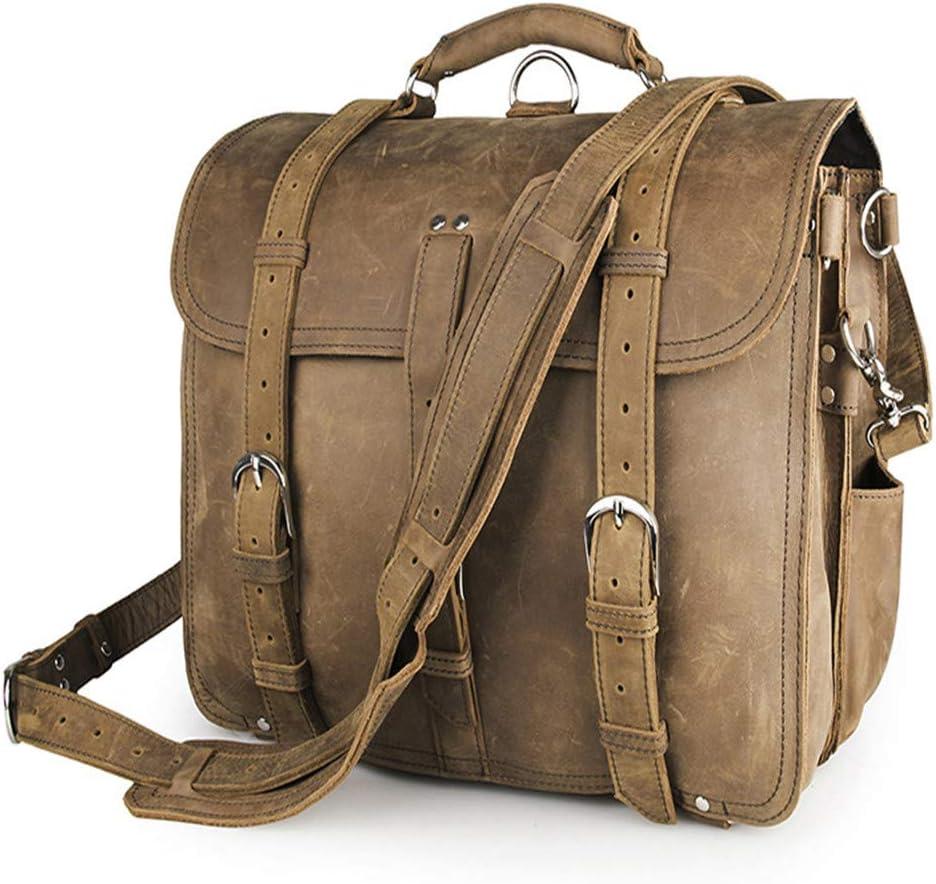 Color : Beige Zhouminli Vintage Leather Tote Briefcase Office Briefcase College Bag Vintage Leather Notebook 17 Computer Messenger Bag