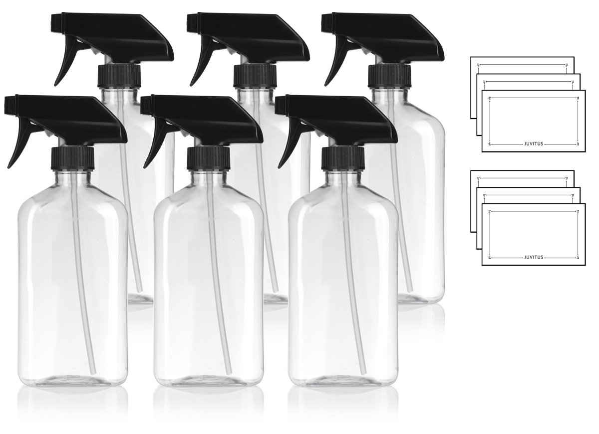 16 oz / 500 ml Clear PET (BPA Free) Plastic Oblong Flask Style Refillable Bottle with Black Trigger Sprayer (6 pack) + Labels