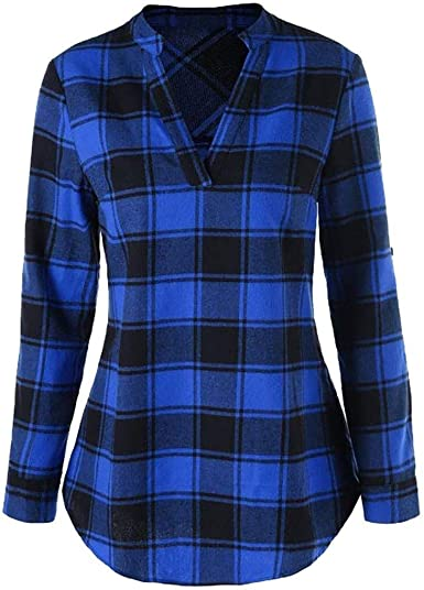 Camisa De Mujer A Cuadros Camisa De Manga Larga Camisa ...
