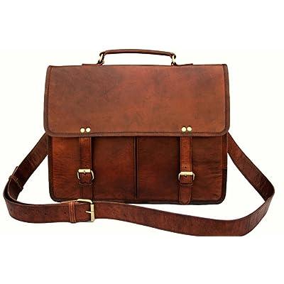 """16"""" Twin Pocket Leather Messenger Bag Business Bag Briefcase Laptop Case"""