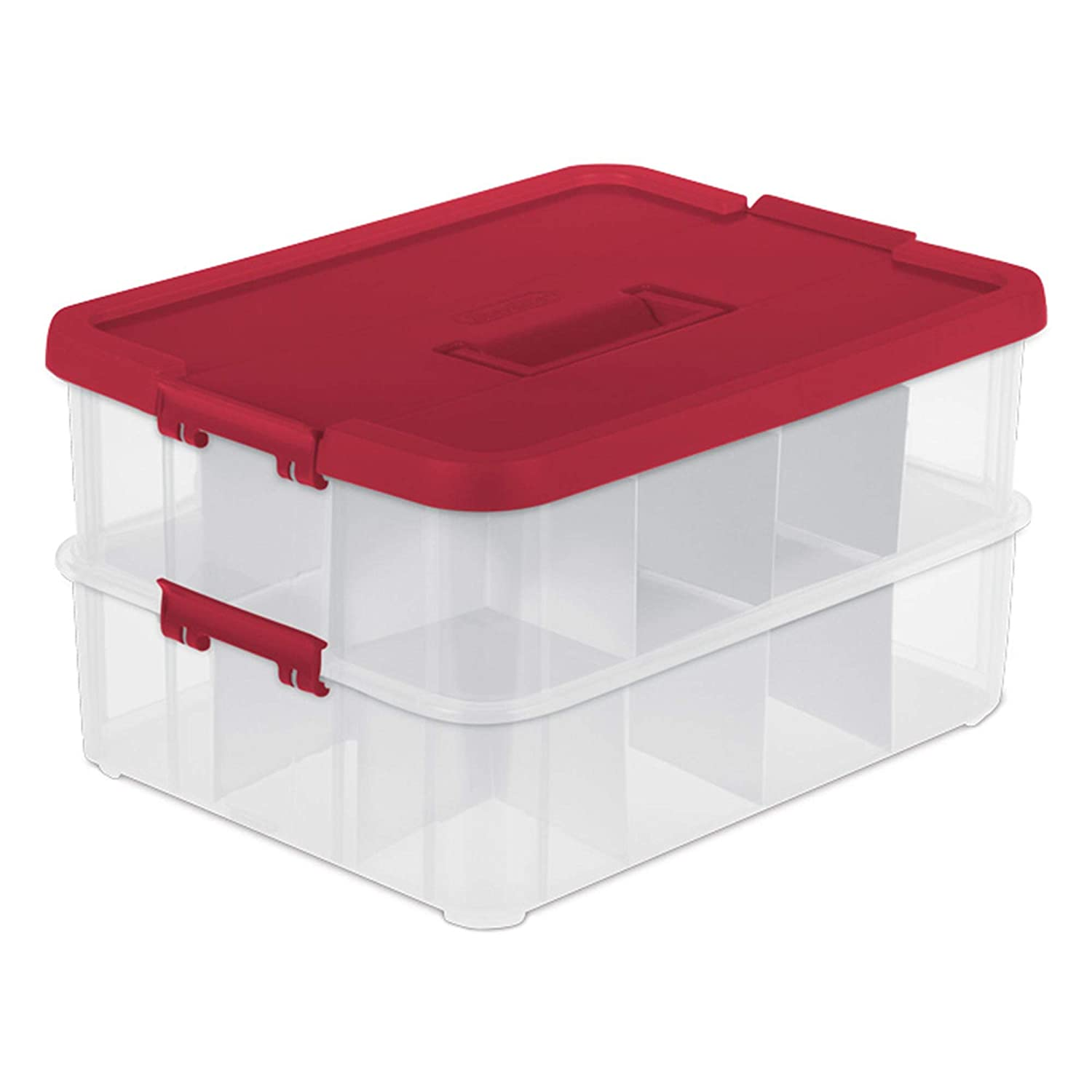 Sterilite 1427 Stack & Carry 2 Layer 24 Ornament Storage Box, Red Lid and Handle, See-through layers No Model