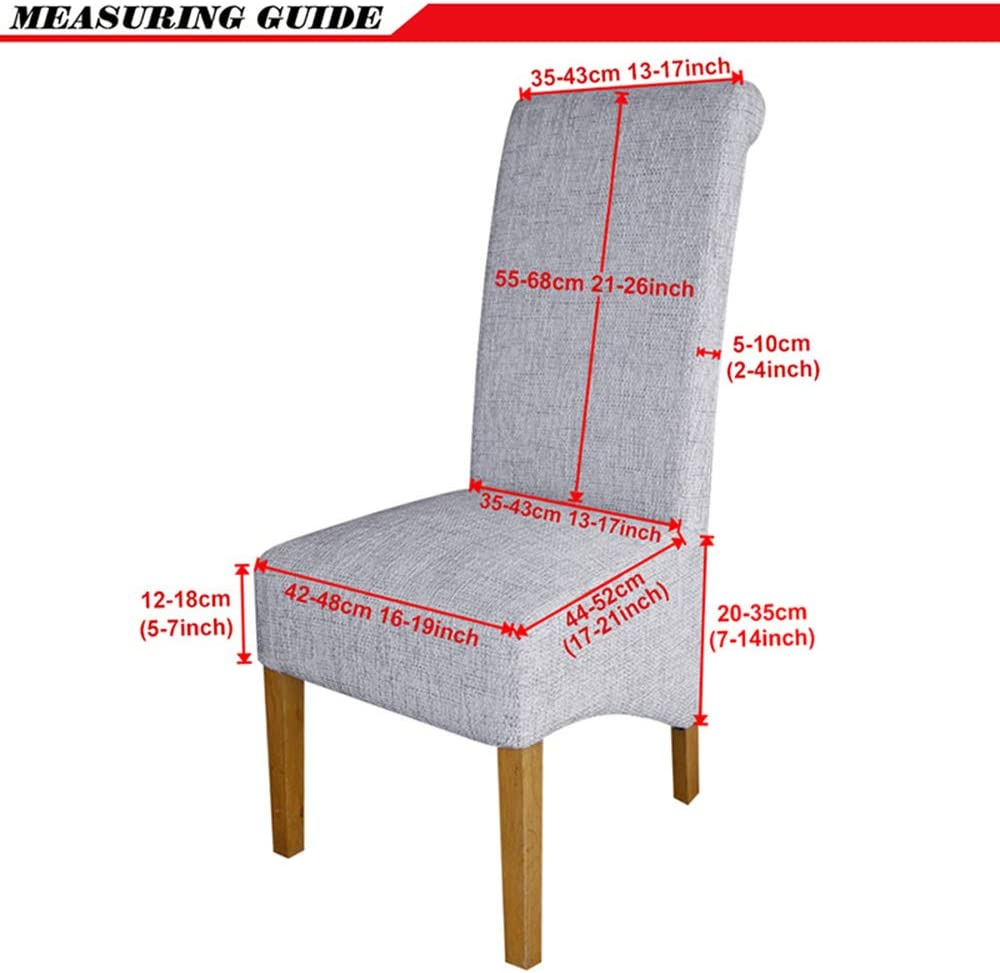 Leorate Large Size Dining Room Hotel Printing Fabric Stretch Chair Slipcover Color-3 6 Pieces