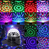 JUDYelc Karaoke Machine Party Lights Disco Ball Lights DJ Stage Lamp 6 Colors Sound Activated Strobe Portable Remote Control Magic Ball for Festival Bar Club Party Outdoor and More